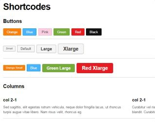 Shortcodes Bizco Responsive theme Themify