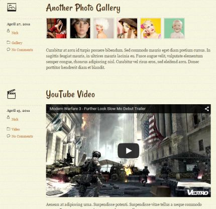Featured Post Formats Preview Notes WordPress Theme