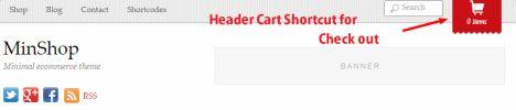 Header Cart link Minshop eCommerce theme