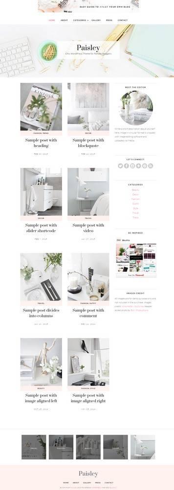 Paisley Demo BluChic - Chic WordPress Theme for Female Bloggers