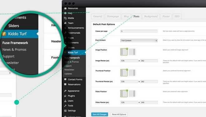 Fuse Framework Options - Kiddo Turf Kids WordPress Theme