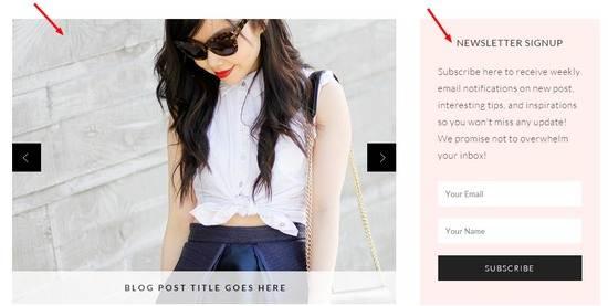 Slider and Newsletter Widget Marilyn Theme MailChimp Styling