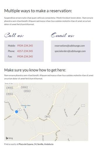 Contact Reservation Page - Coffee Lounge