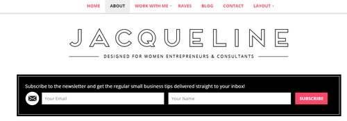 Header Menu Newsletter - Jacqueline Theme