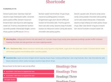 Shortcode BluChic Jacqueline Theme