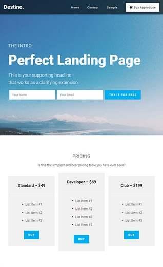 Destino BizzThemes – WordPress Landing Page Theme