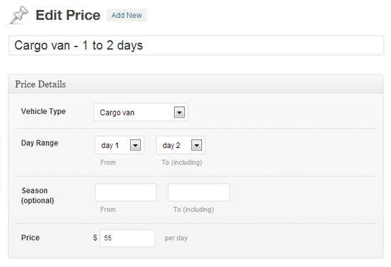 Fleixble Pricing Module - CarHire Theme Bizz Themes