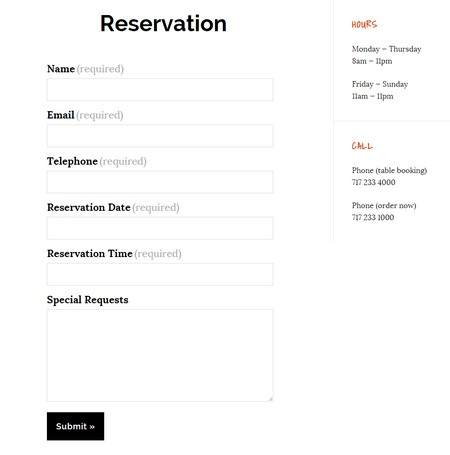 Reservation Form - Taverna Theme BizzThemes