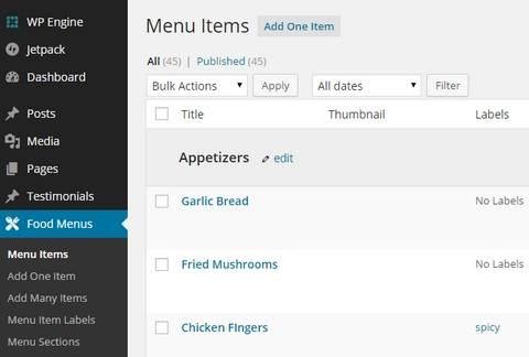 Restaurant Menu - Admin Options