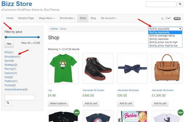 Shop Page - Filter and Sort Options - Bizz Store