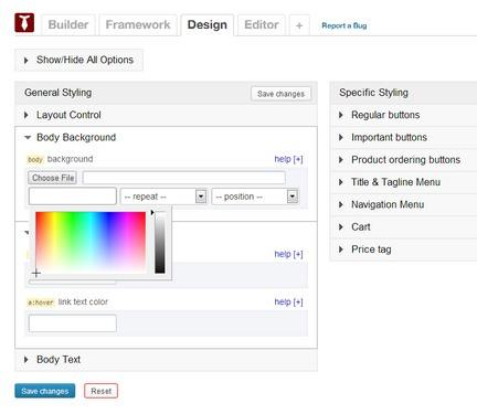 Simple Store Design - Options Panel and Framework BizzThemes