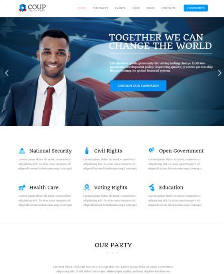 Coup TeslaThemes : Political WordPress Theme