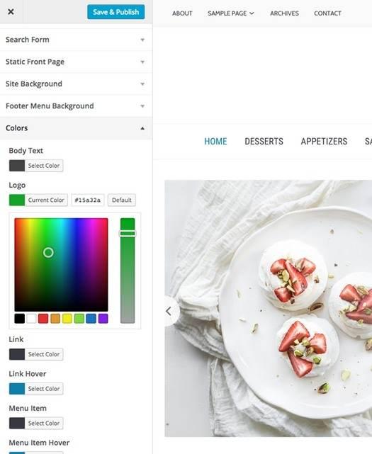 Customizer Foodica Options