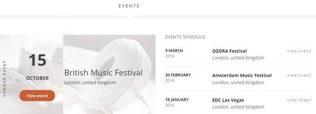 Events Page - Superstar TeslaThemes