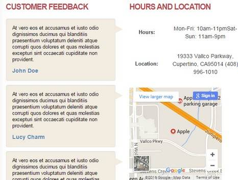 Hours and Location Widget - Footer