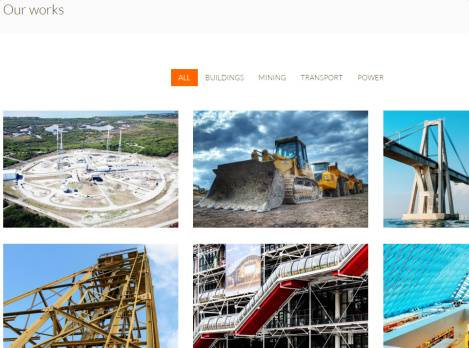 Portfolio Page with Filter buttons - Megalith Construction Theme