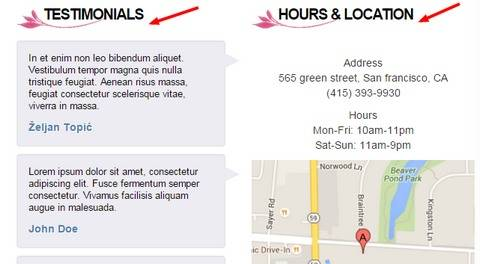 Testimonials and Location Widget - Nail Care theme by BizzThemes