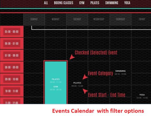 Timetable - Sportify TeslaThemes Events Filter