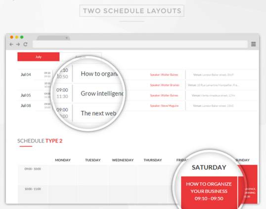 Two Schedule Layouts - E-event