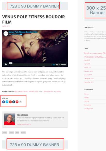 Ad Banners Support - Clean Video World WordPress Theme