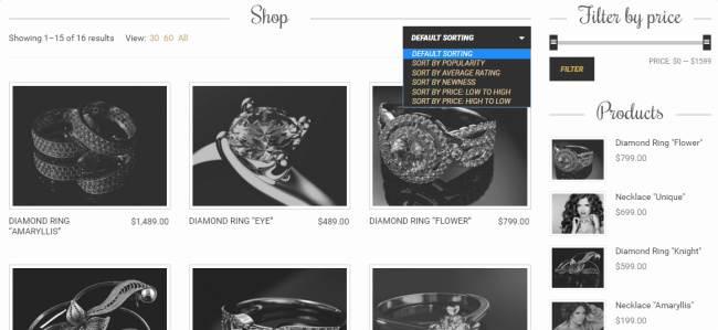 Amaryllis Shop Page - Filter Sort Options