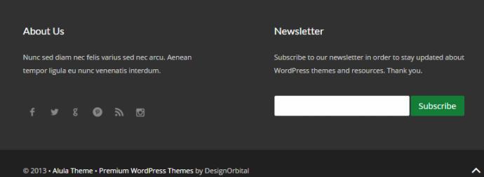 Footer Widgets - Alula DesignOrbital