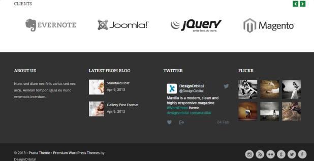 Footer Widgets - Prana Pro WordPress Business Theme