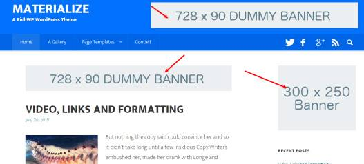Header Banner spots - Materialize Homepage