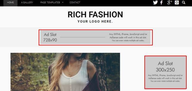 Header - Rich Fashion Blog theme