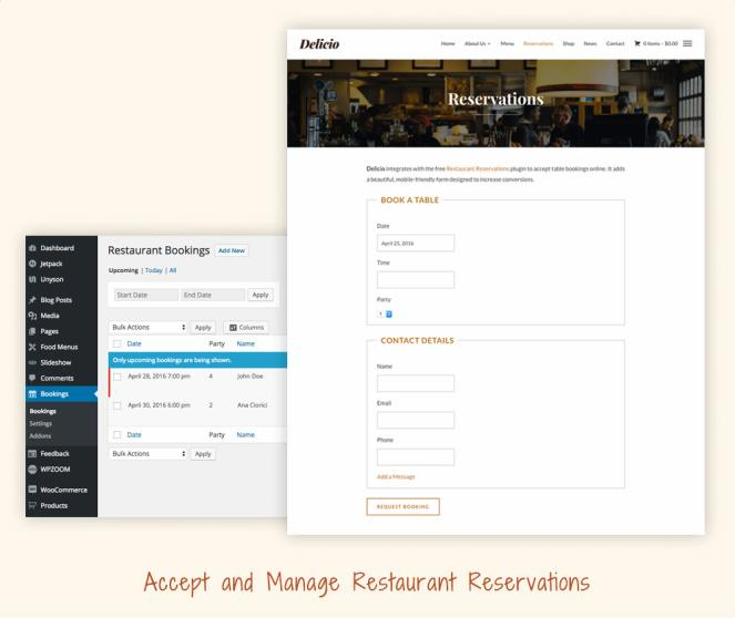 Online Table bookign and reservations - Delicio WPZOOM