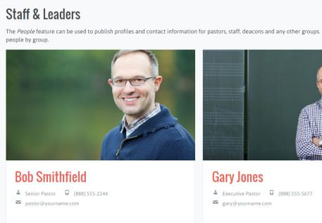 Staff Leaders Page - Uplifted Church WP Theme