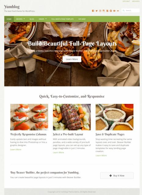 Yumblog Review - UPThemes - food recipe theme for WordPress bloggers