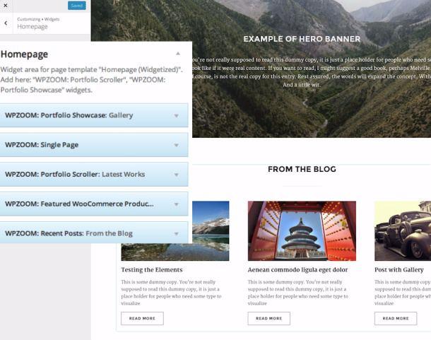 Homepage widgets - customizer