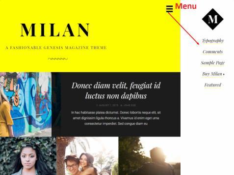 Milan Slide-in Menu - Genesis magazine theme
