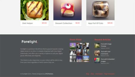 Footer widgets - Forelight eCommerce theme