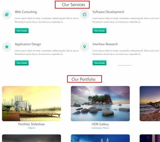 Homepage Featured Section - Scenica Portfolio Theme