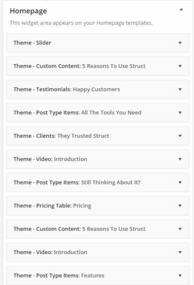 Homepage Widgets - Struct Business theme