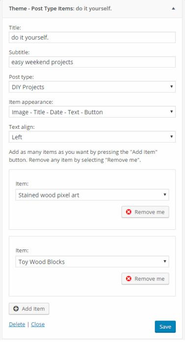 Items Widget- Custom Post Type