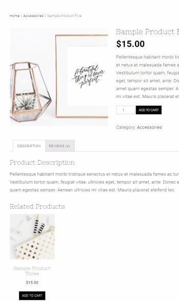 Sample Product Page – Tiffany WooCommerce Theme