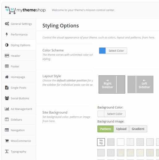 Styling Options - Mythemeshop Options panel