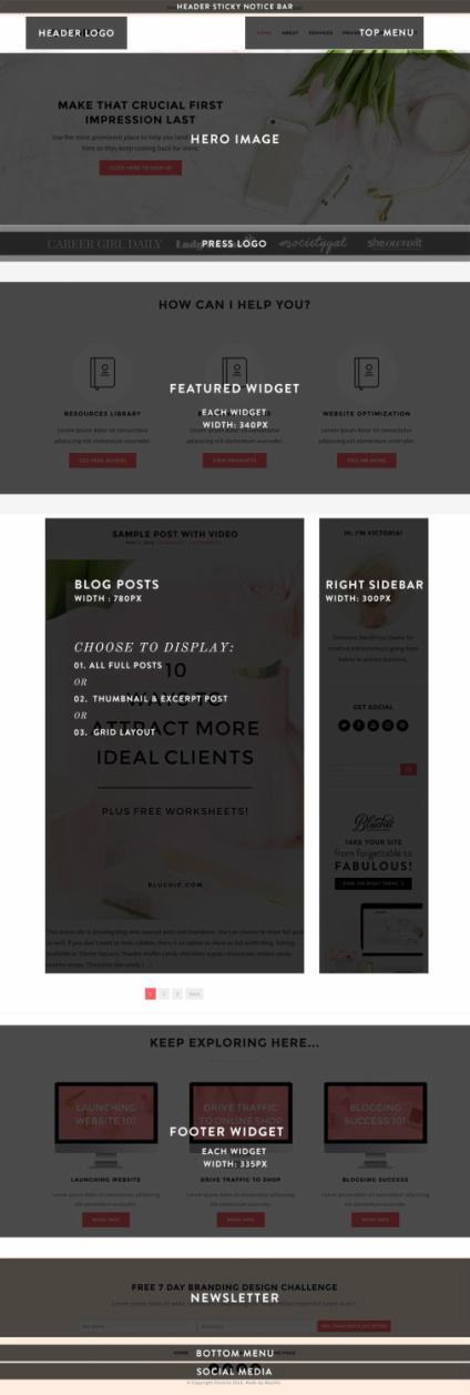 Bluchic Victoria : Feminine Business WordPress Theme