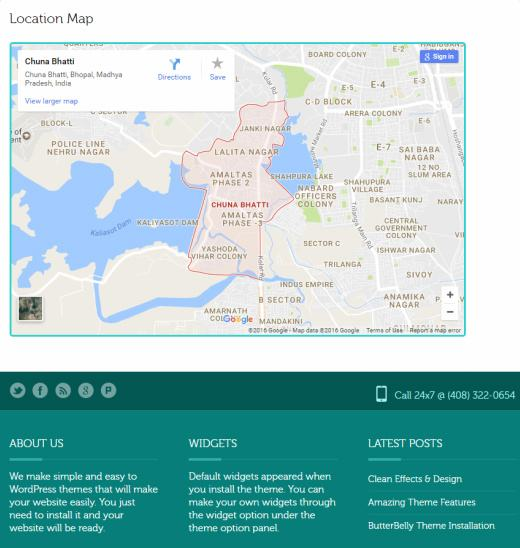 Contact Google Map - Footer widgets - ButterBelly