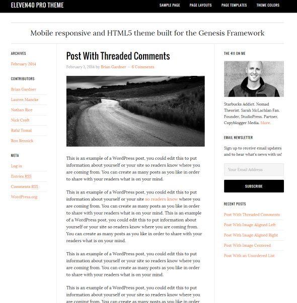 Genesis Eleven40 Pro Demo : StudioPress Blogging Theme