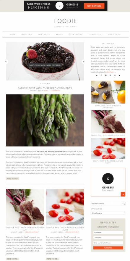 Genesis Foodie Pro StudioPress : Recipe & Food Blogging Theme