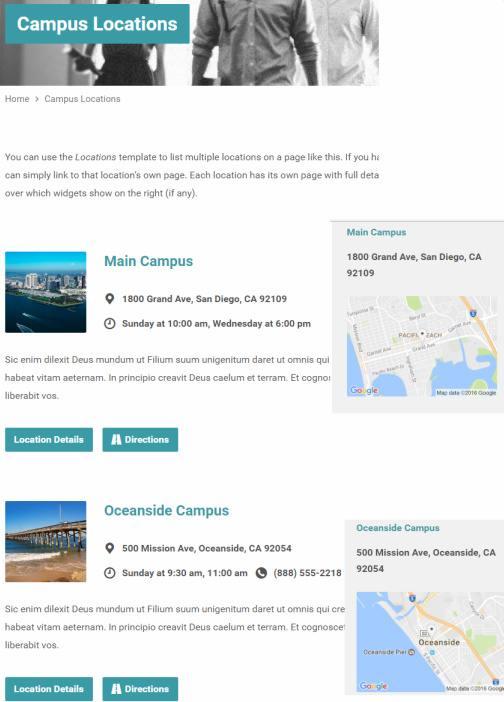 Locations Page - Exodus ChurchThemes.com