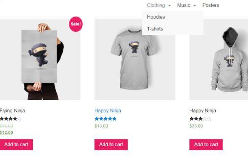 Shop Page with Menu - Pop Up Shop