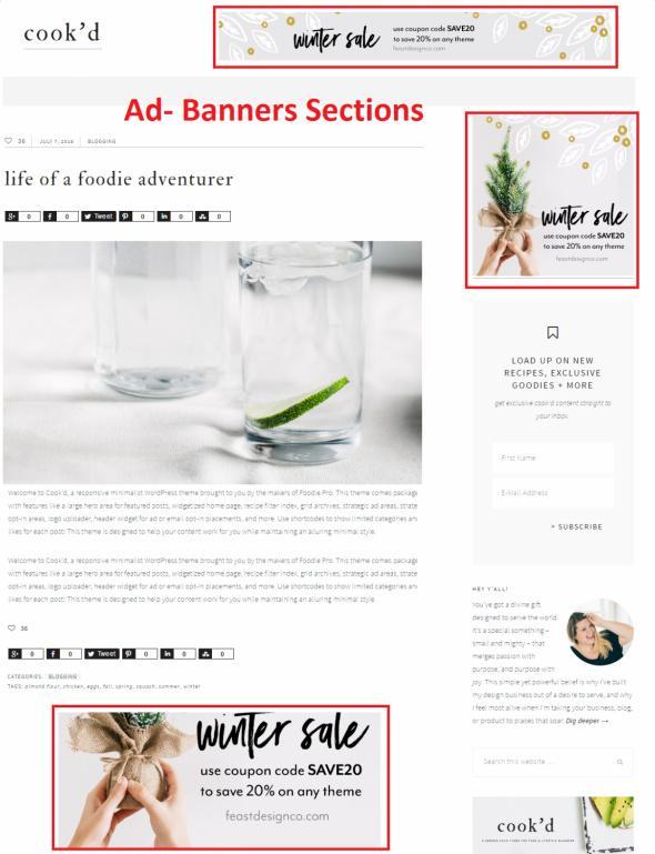 Ad Banner Widget Sections - Cook'd Pro Studiopress