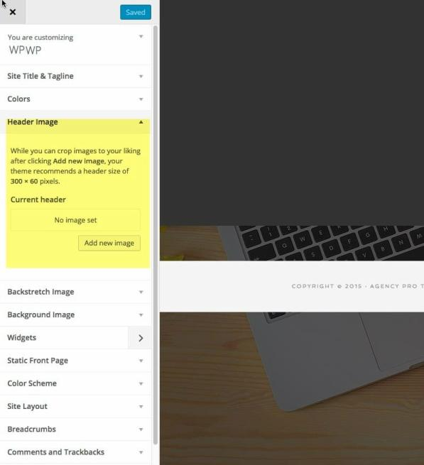 Agency Customizer - Header background styling options