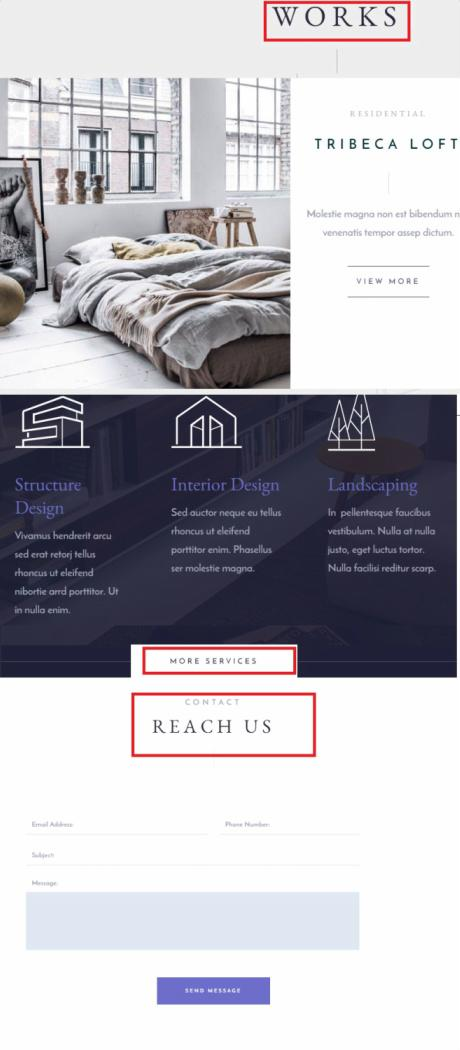 Architekt Page Builder - Featured Sections on homeapge