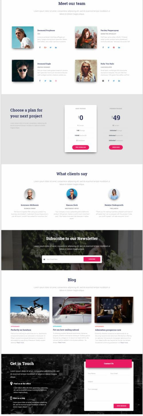Homepage Featured Sections - Portfolio Price Table - Testimonials